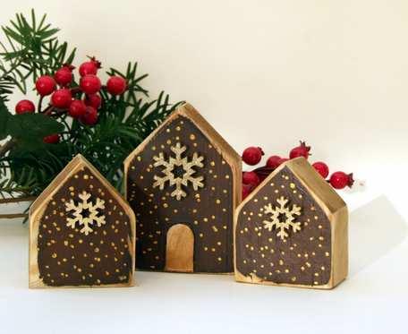 3 domki drewniane dekoracyjne, świąteczne