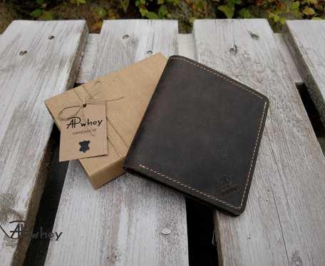 Kompaktowy portfel męski, ciemny brąz