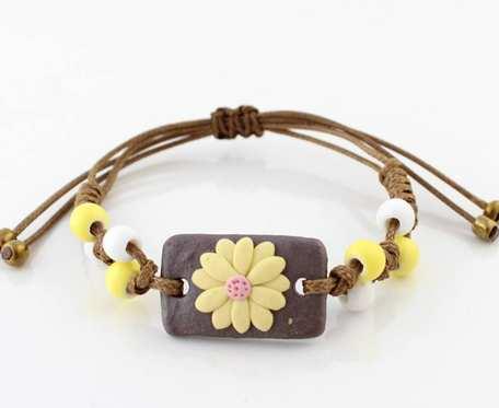 Bransoletka pleciona ceramiczna - kwiatek