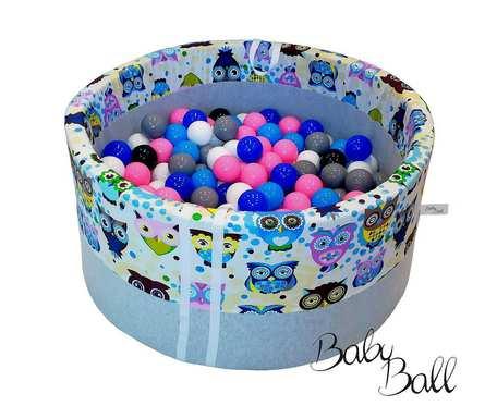 Suchy basen BabyBall z piłeczkami (300 szt) dla dzieci - niebieskie sowy - grube dno - Idealny prezent na Roczek