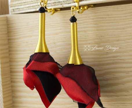 Klipsy Silk długie złote czerwone