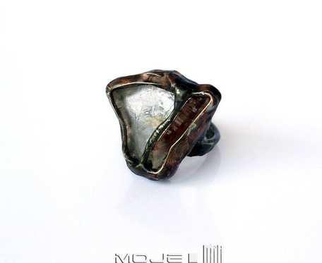 Harmonia cytrynu z kryształem - pierścionek