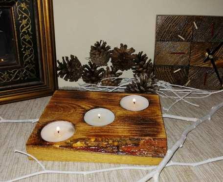 Świecznik w drewnie