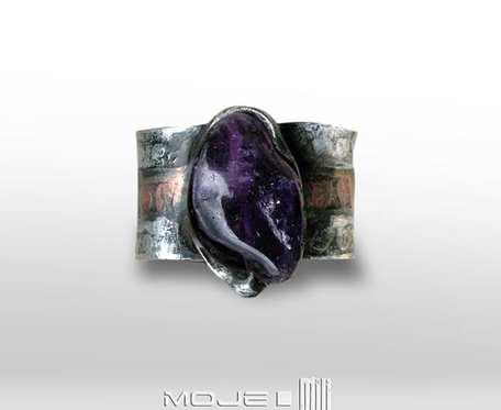 Sige - miedziany pierścionek, obrączka z agatem