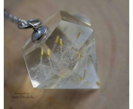 Wisiorek diament z żywicy z nasionami dmuchawca, stal chirurgiczna