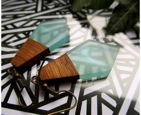 Drewniane kolczyki kryształki dąb + błękit
