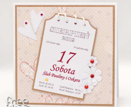 Kartka z kalendarza * spersonalizowana kartka ślubna KS1920 na zamówienie