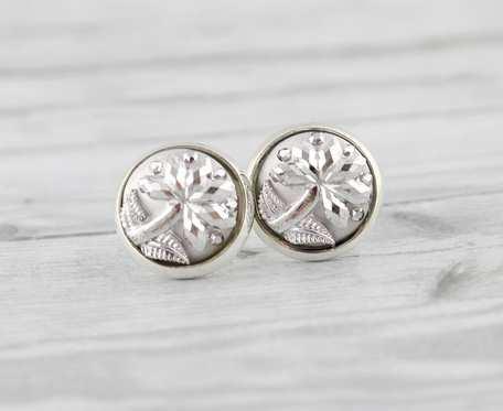 Kolczyki wkrętki srebrne kwiaty