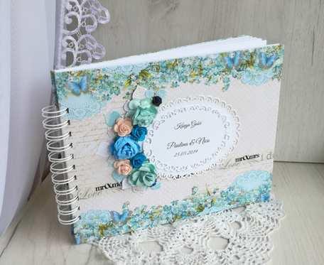 Księga gości weselnych, album, beżowa z niezapominajkami