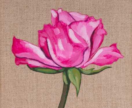 Róża - obraz namalowany na niezagruntowanym płótnie lnianym, oprawiony w drewnianą ramę
