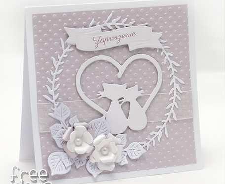 Romantyczna kartka ślubna Para kotów ZS2001