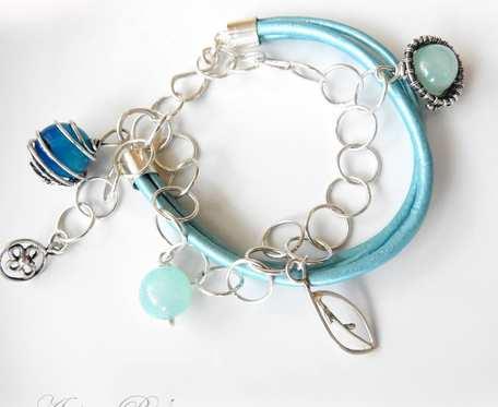 Błękitna bransoletka srebrna z agatem i rzemieniami