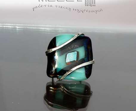 Morska impresja - pierścionek ze szkła