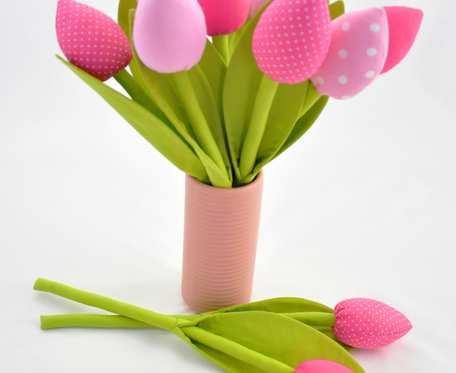 Tulipany z materiału, szyte różowe