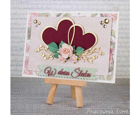 Kartka ślubna z sercami w pudełku