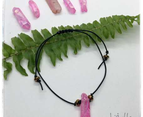 Sznurkowa bransoletka z rożowym kwarcem aura