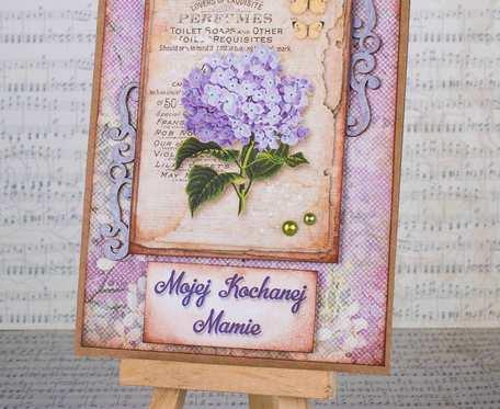 Fioletowa retro kartka dla mamy