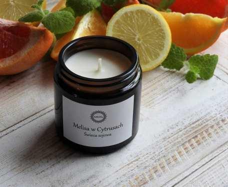 Zapachowa, naturalna świeca sojowa MELISA W CYRUSACH