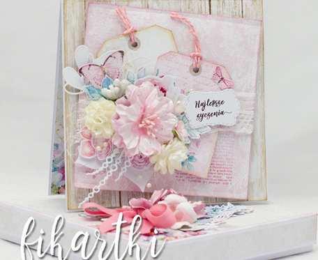 Bogato zdobiona kartka urodzinowa/ślubna w pudełku KS2101