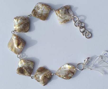 Bransoletka z masy perłowej - bryłki złoto - perłowe -  wzór IV