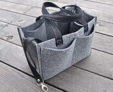 Organizer filcowy do torebki - dużo kieszonek - szary