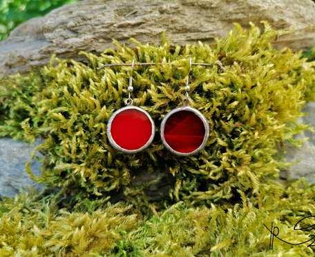 Szklane kolczyki kółka (czerwone)