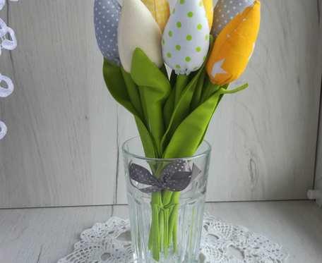 Tulipany z bawełny bukiet żółty Urodziny