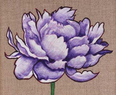 Piwonia - obraz namalowany na niezagruntowanym płótnie lnianym, oprawiony w drewnianą ramę