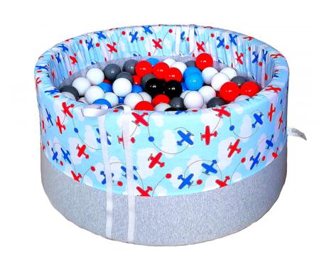 Suchy basen BabyBall z piłeczkami (250 szt) dla dzieci - samoloty - grube dno - Idealny prezent na Roczek