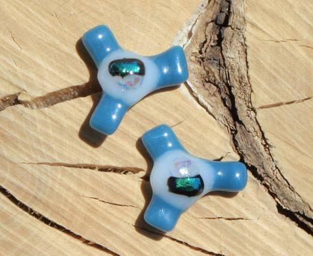 Turkusowo-niebieskie wiatraczki - szklane kolczyki