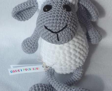 Pluszowa Owieczka Miłka, szaro-biała, 25 cm