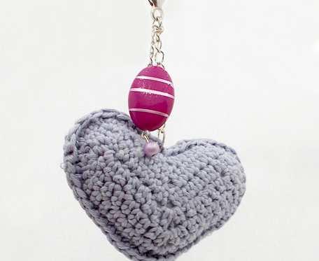 Breloczek Love with Lavender szydełkowe serce