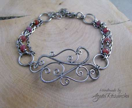 Bransoletka rubin naturalny, wire wrapping