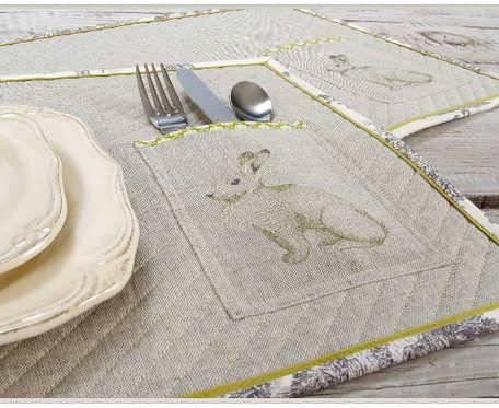 Lniane Podkładki Obiadowe z kieszonką na sztućce i z haftowanym Królikiem