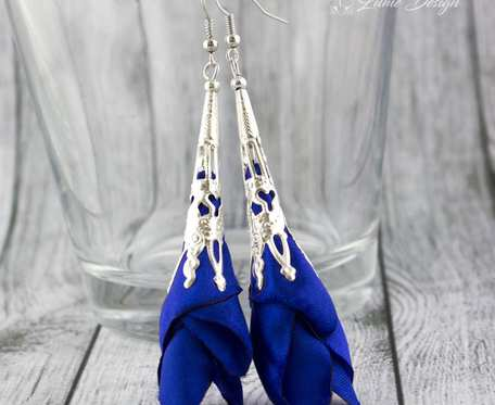 Kolczyki Silk długie chabrowe ażurowe