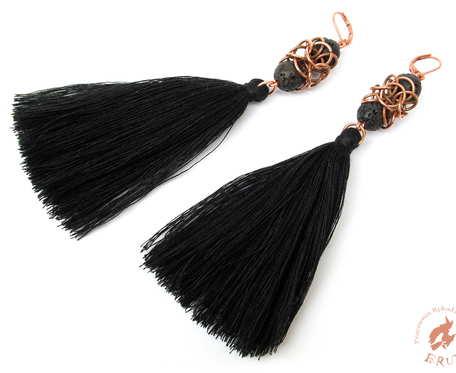 Długie kolczyki chainmaille z chwostem czarne