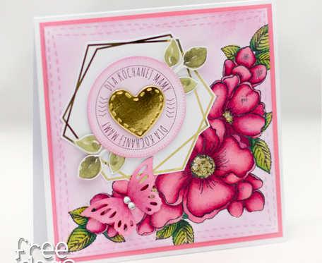 Kartka na Dzień Matki z wiankie i złoceniami KDM19005