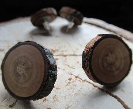 Drewniane kolczyki DĄB eko wkrętki