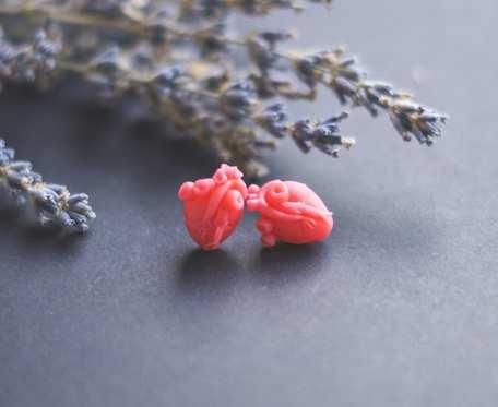 Anatomiczne serca mini wkrętki kolczyki