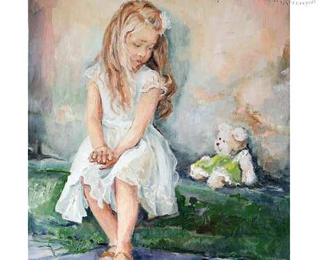 Pastelowa dziewczynka z misiem - obraz olejny