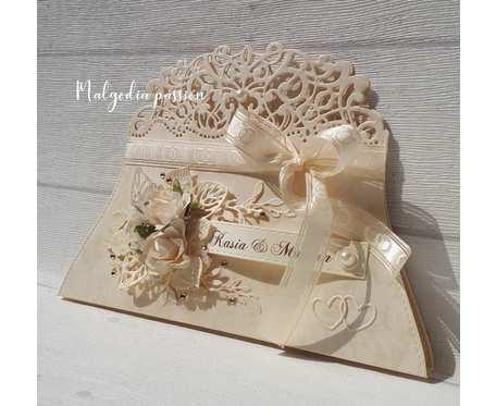 Kartka torebeczka na ślub wersja II