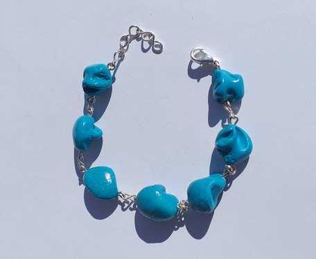 Bransoletka z masy perłowej - bryłki niebieskie -  wzór IV