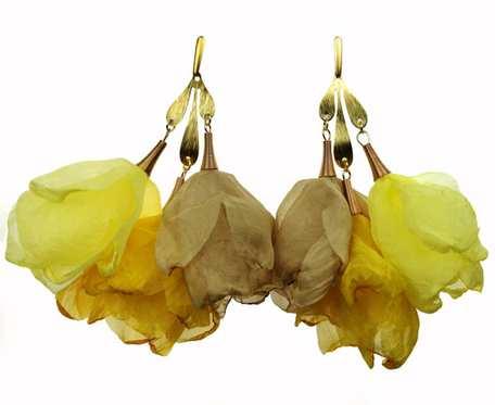 Słoneczne kolczyki do letniej sukienki żółte c860