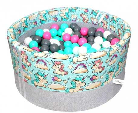 Suchy basen BabyBall z piłeczkami (300 szt) - jednorożce na miętowym tle - grube dno - prezent na Roczek