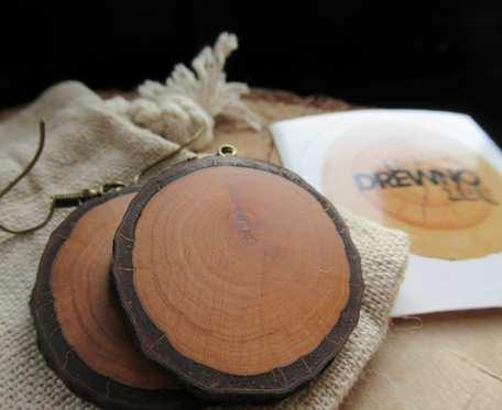 Drewniane kolczyki Dąb koła średnie eko